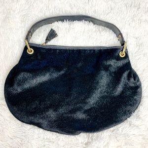 Antonio Melani Black Leather & Fur Hobo Bag